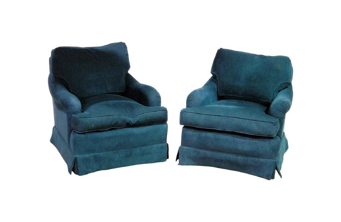 Pair MID CENTURY MODERN UPHOLSTERED BERGERES