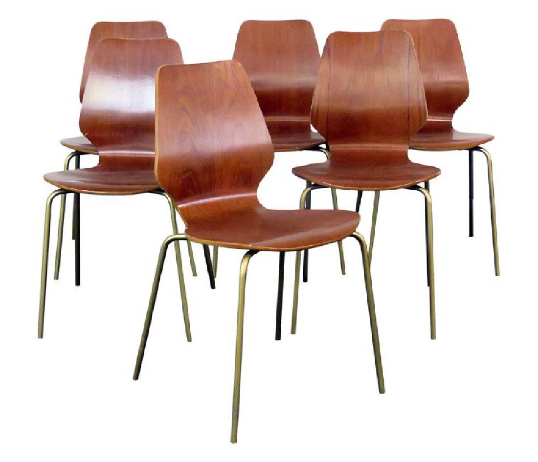 SIX MID CENTURY MODERN BENT PLYWOOD CHAIRS