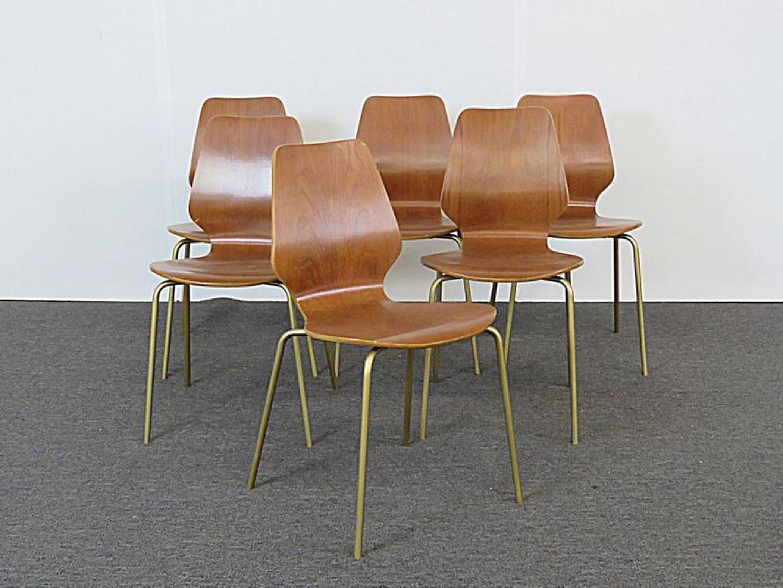 SIX MID CENTURY MODERN BENT PLYWOOD CHAIRS - 2