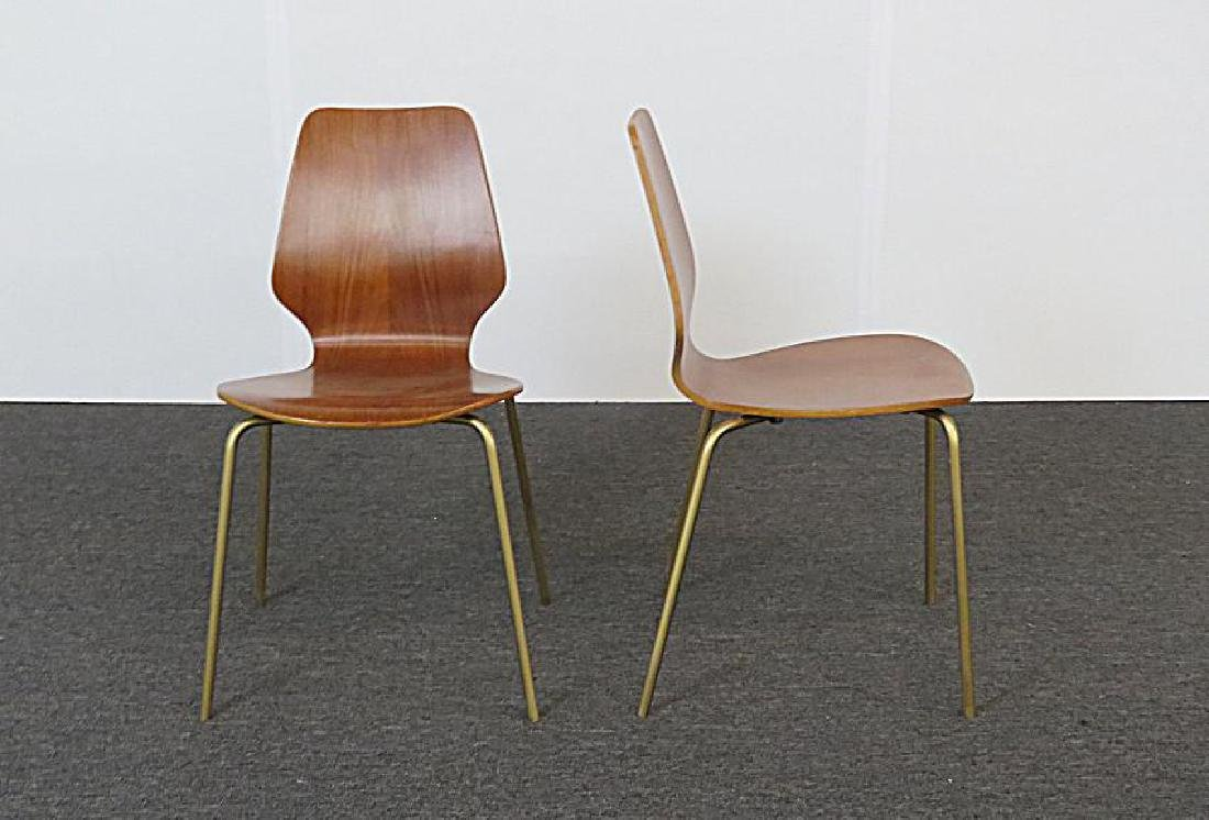 SIX MID CENTURY MODERN BENT PLYWOOD CHAIRS - 6