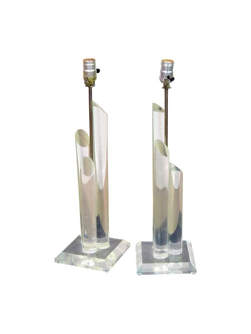 Pair LUCITE TABLE LAMPS