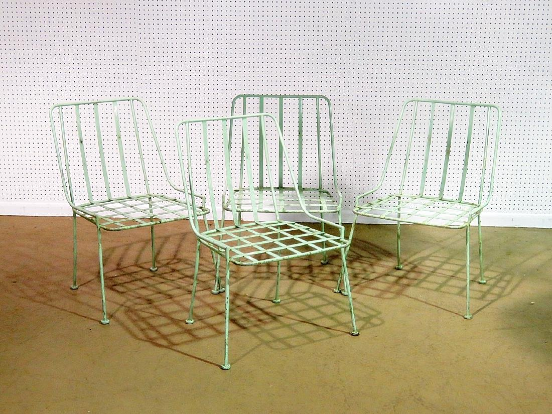 FOUR WROUGHT IRON DINING CHAIRS attributed WOODARD - 2