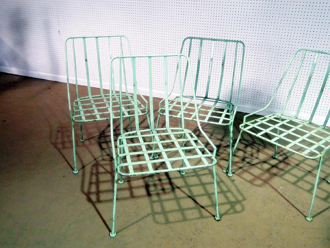 FOUR WROUGHT IRON DINING CHAIRS attributed WOODARD - 3