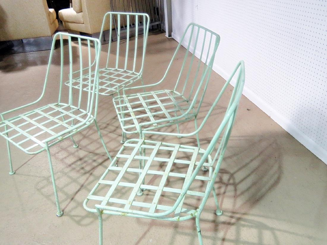 FOUR WROUGHT IRON DINING CHAIRS attributed WOODARD - 4