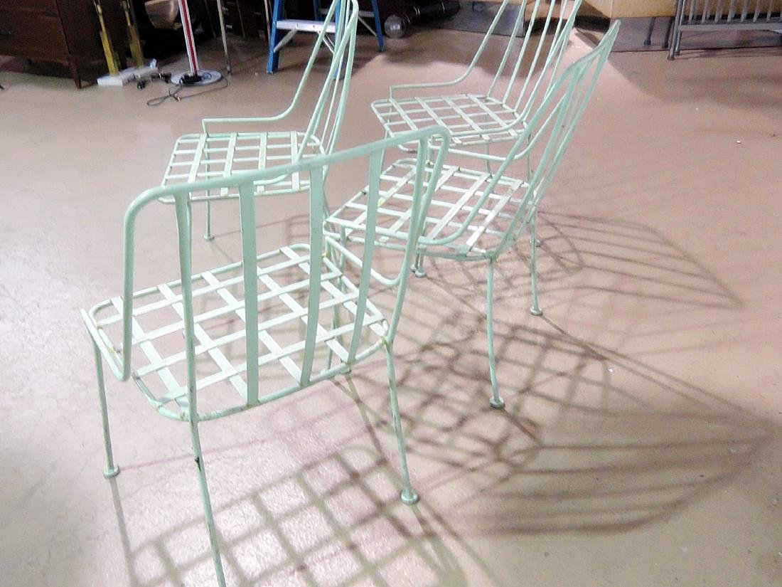 FOUR WROUGHT IRON DINING CHAIRS attributed WOODARD - 5