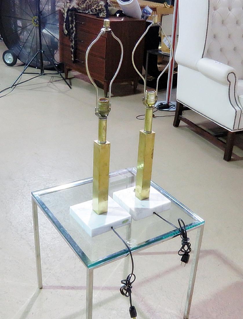Pair JANSEN STYLE BRASS TABLE LAMPS - 4