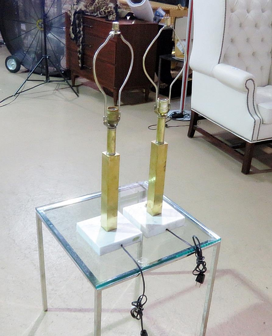 Pair JANSEN STYLE BRASS TABLE LAMPS - 6