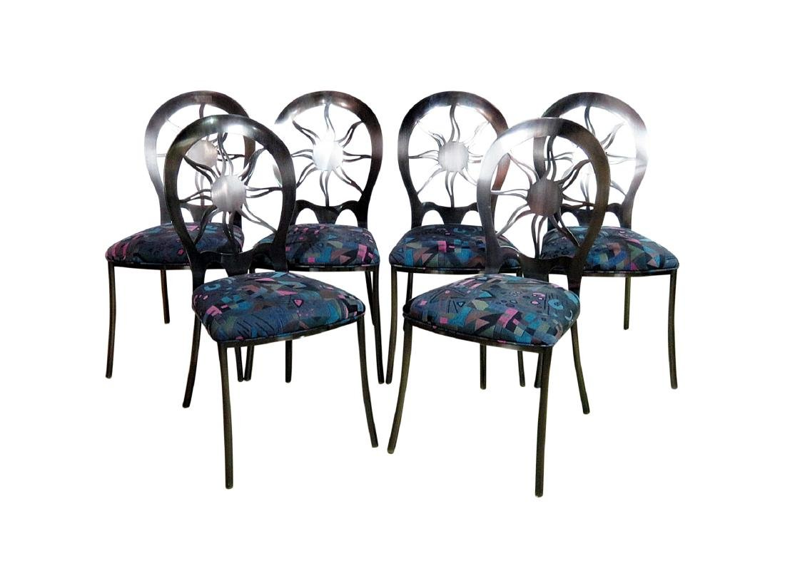 SIX STAINLESS STEEL DINING CHAIRS