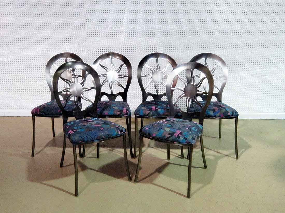 SIX STAINLESS STEEL DINING CHAIRS - 2