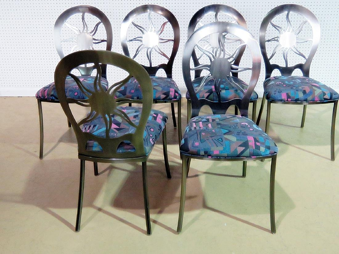 SIX STAINLESS STEEL DINING CHAIRS - 5