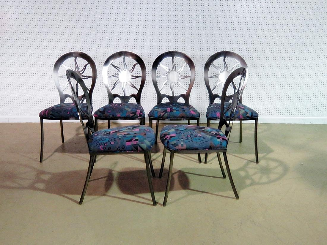 SIX STAINLESS STEEL DINING CHAIRS - 6