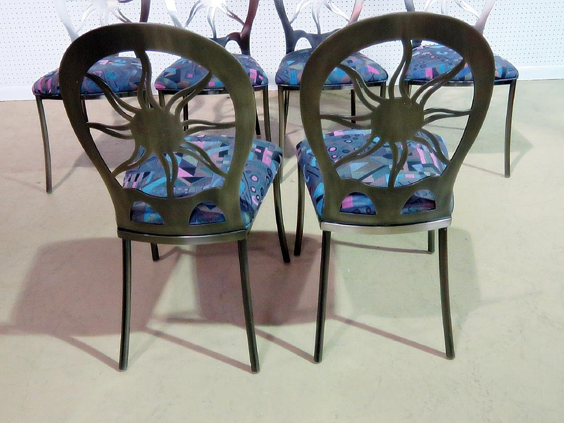 SIX STAINLESS STEEL DINING CHAIRS - 7