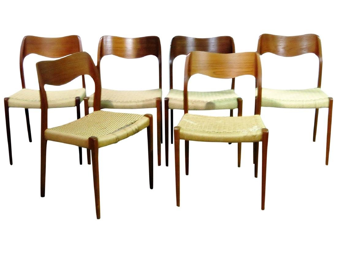 SIX DANISH DINING CHAIRS signed MOLLER