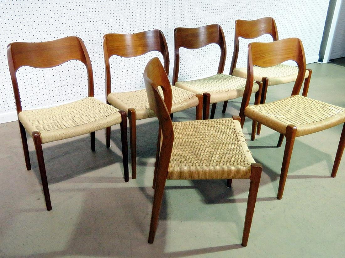 SIX DANISH DINING CHAIRS signed MOLLER - 5
