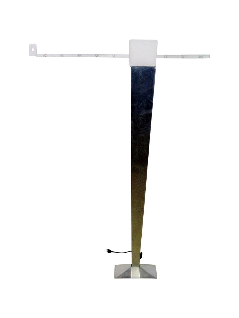 MID CENTURY MODERN STAINLESS STEEL FLOOR LAMP