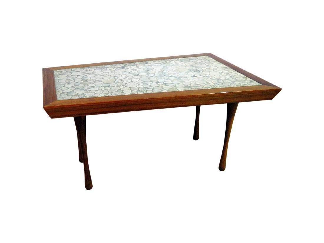 MCM TILE TOP WALNUT FRAME END TABLE