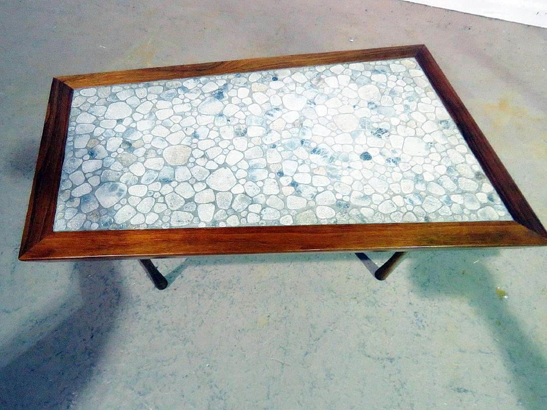 MCM TILE TOP WALNUT FRAME END TABLE - 3
