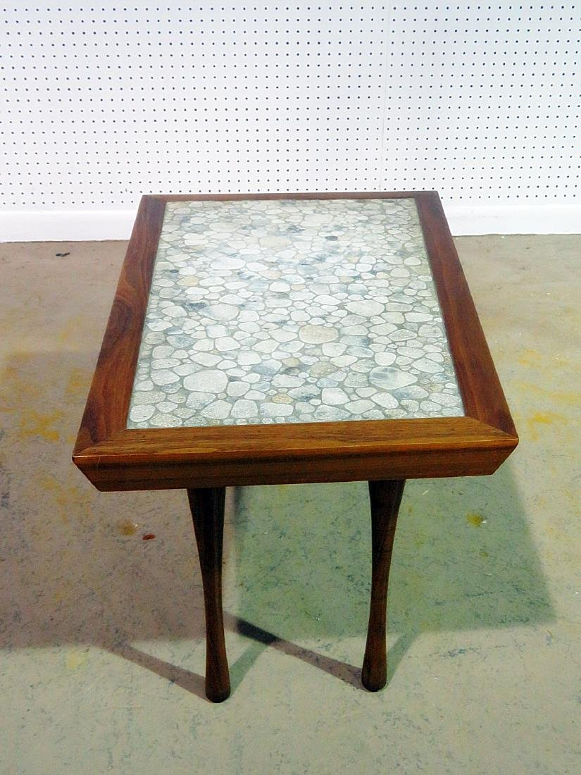 MCM TILE TOP WALNUT FRAME END TABLE - 4