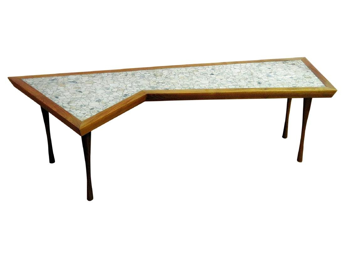 MCM TILE TOP WALNUT FRAME COFFEE TABLE