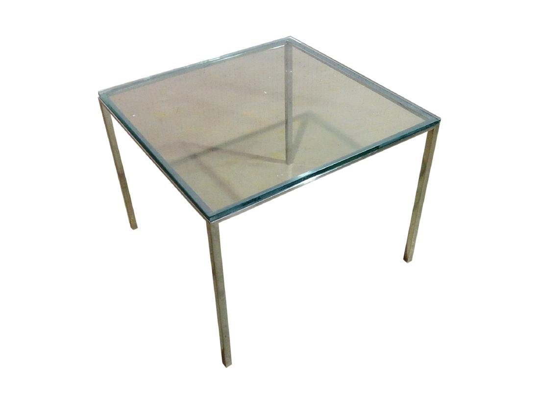 KNOLL STYLE GLASS TOP END TABLE