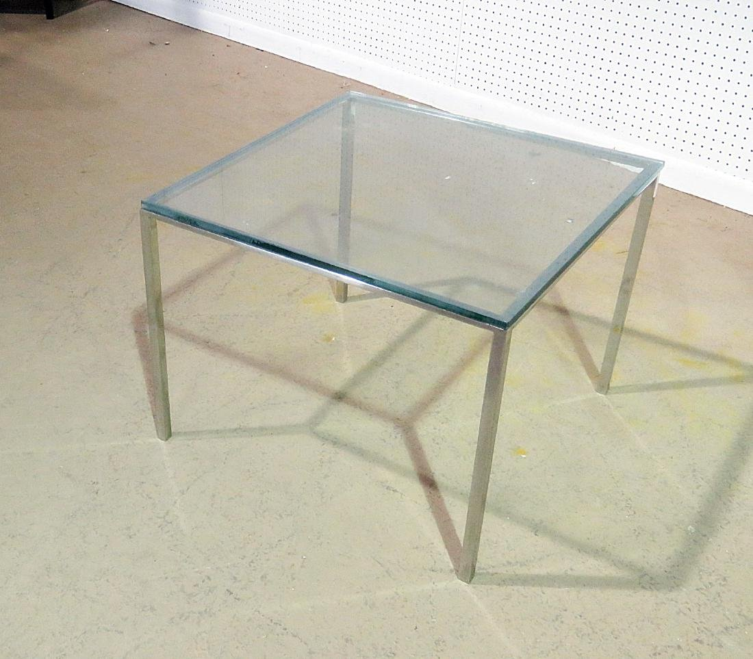 KNOLL STYLE GLASS TOP END TABLE - 2