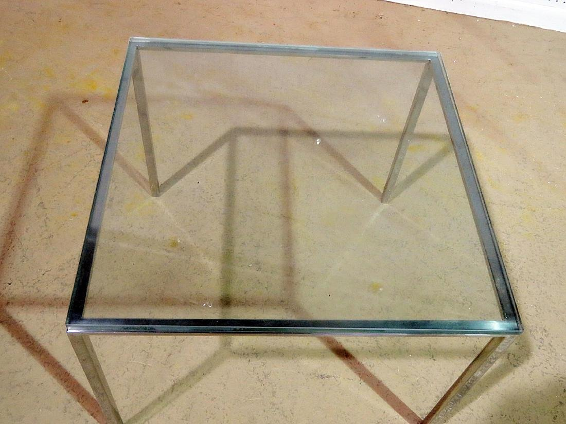 KNOLL STYLE GLASS TOP END TABLE - 5