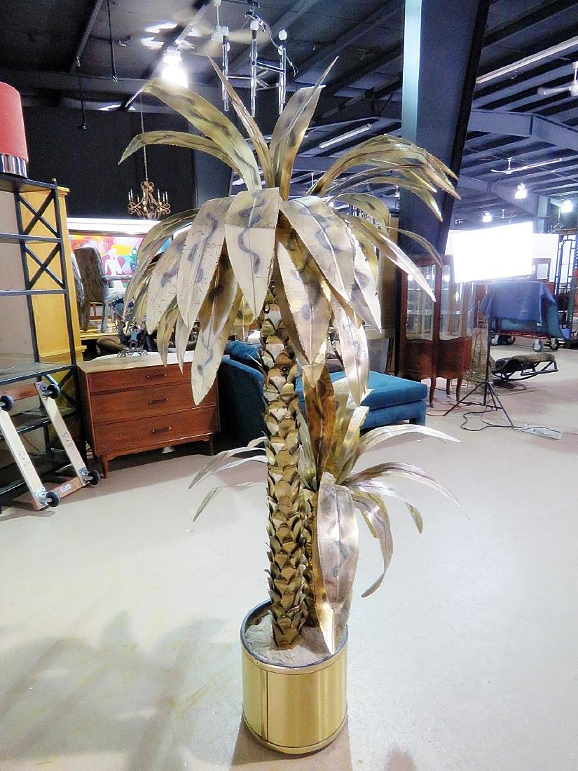 MCM DOUBLE PALM TREE SCULPTURE attributed JERE - 8