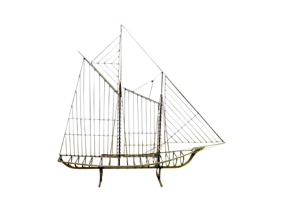 GILT METAL SHIP SCULPTURE attributed JERE