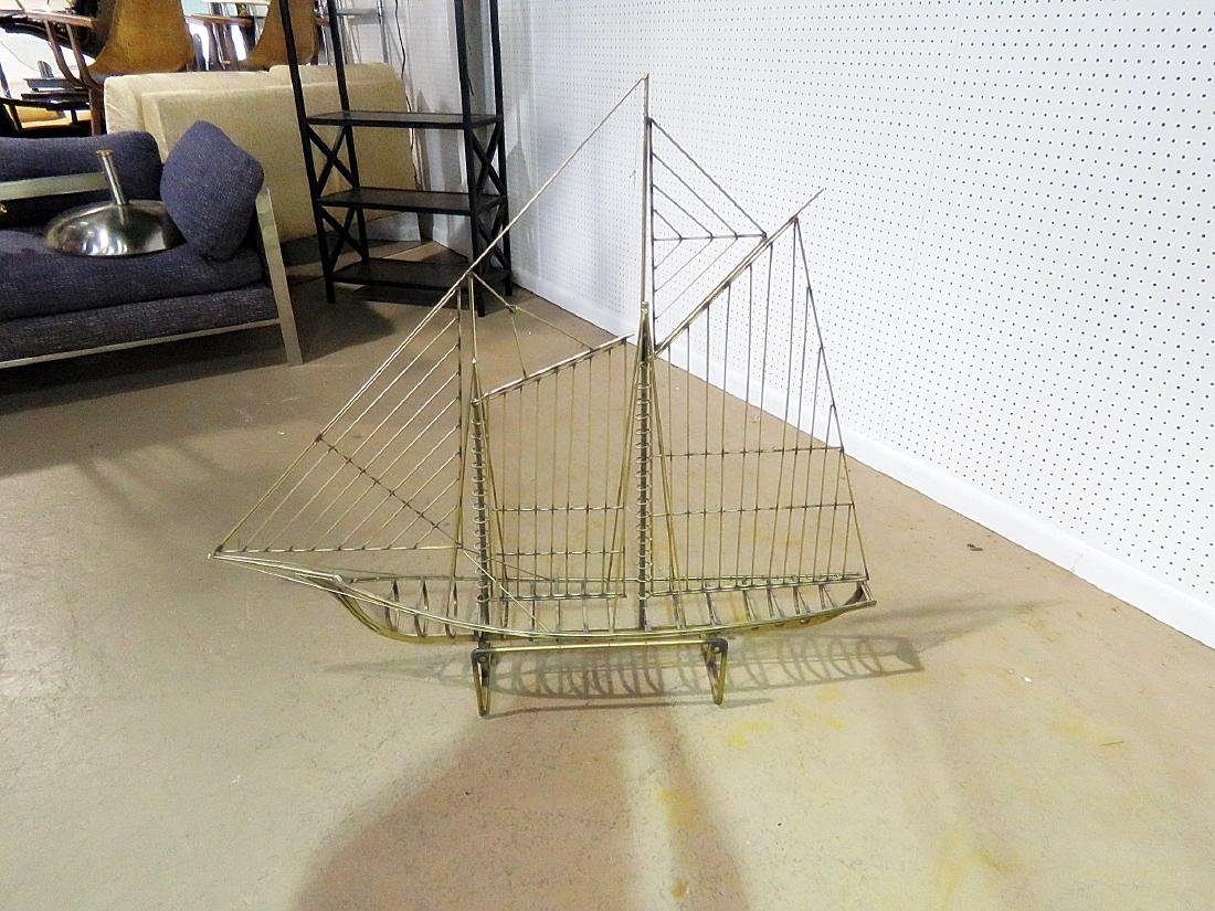 GILT METAL SHIP SCULPTURE attributed JERE - 3