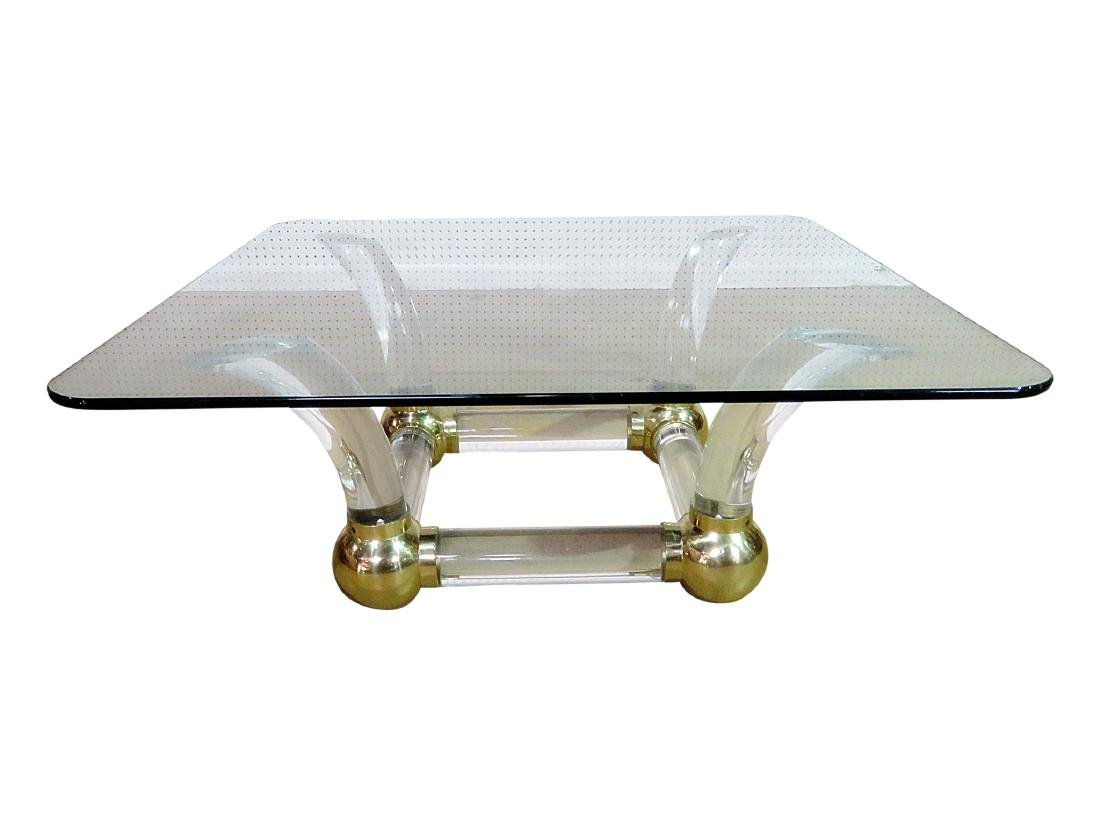 MCM GLASS TOP COFFEE TABLE attributed CHARLES HOLLIS
