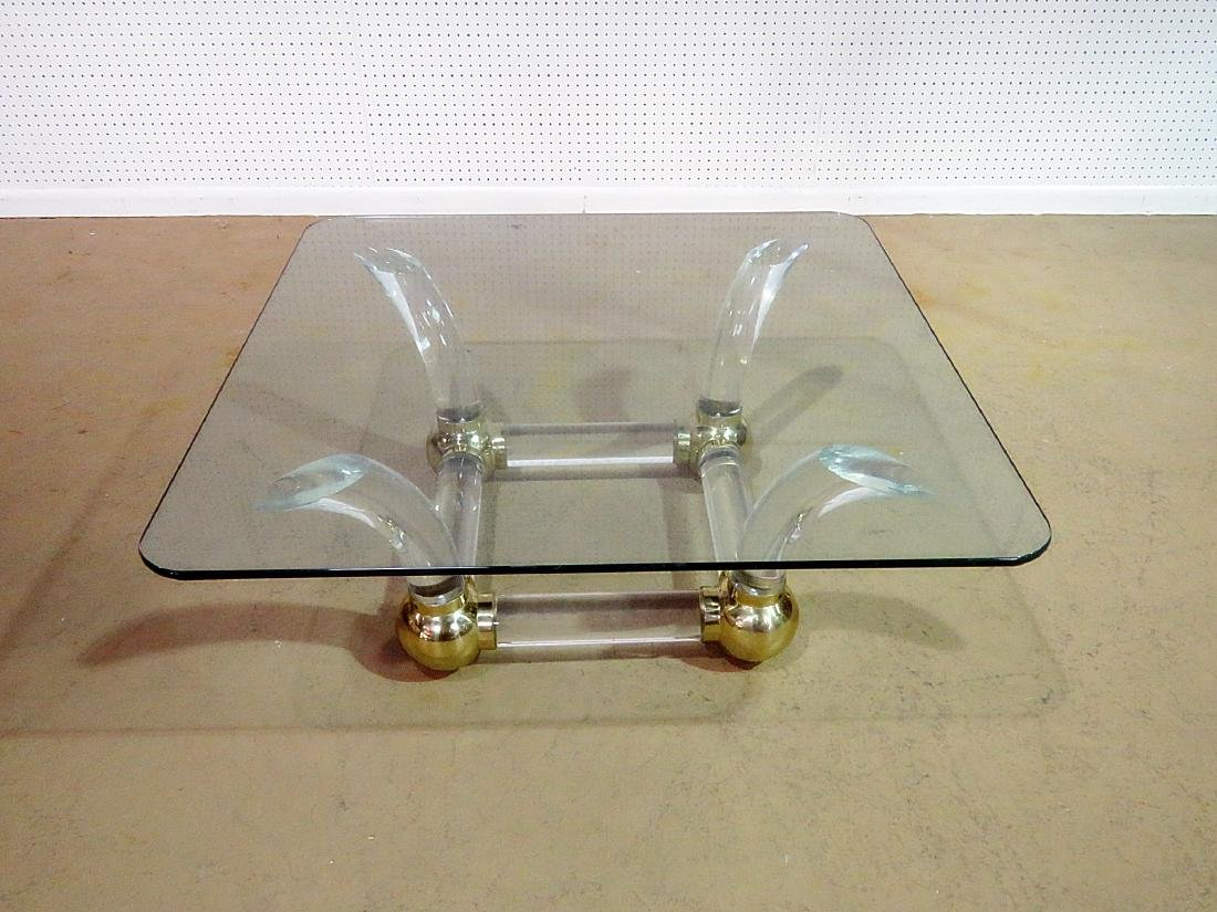 MCM GLASS TOP COFFEE TABLE attributed CHARLES HOLLIS - 2