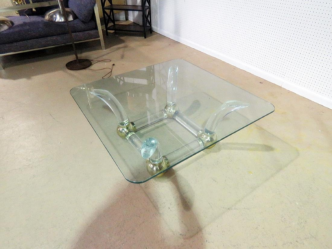 MCM GLASS TOP COFFEE TABLE attributed CHARLES HOLLIS - 5