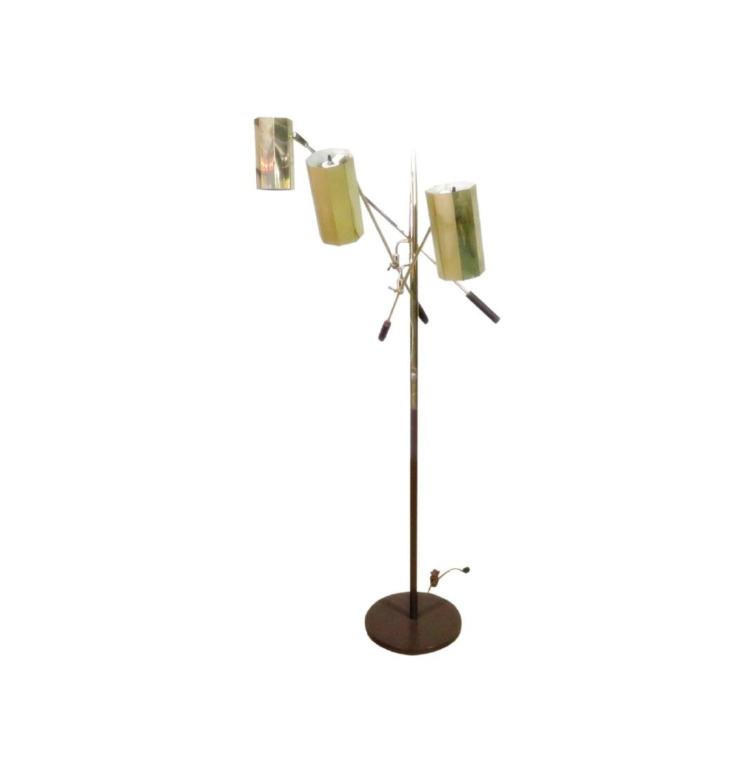 MID CENTURY MODERN TRIPLE CANISTER FLOOR LAMP