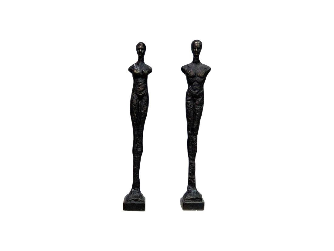 Pair GIACOMMENTI STYLE PATINATED METAL SCULPTURES