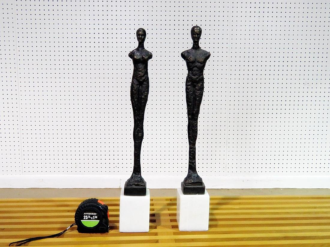 Pair GIACOMMENTI STYLE PATINATED METAL SCULPTURES - 2