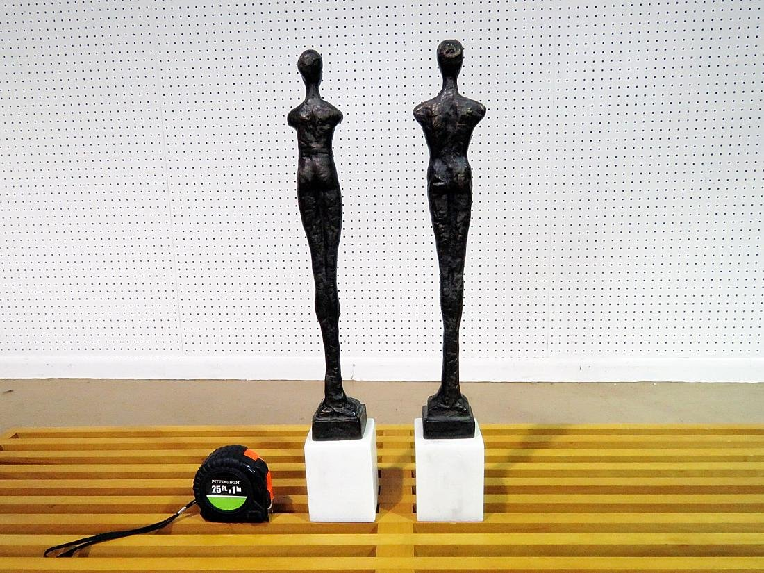 Pair GIACOMMENTI STYLE PATINATED METAL SCULPTURES - 4