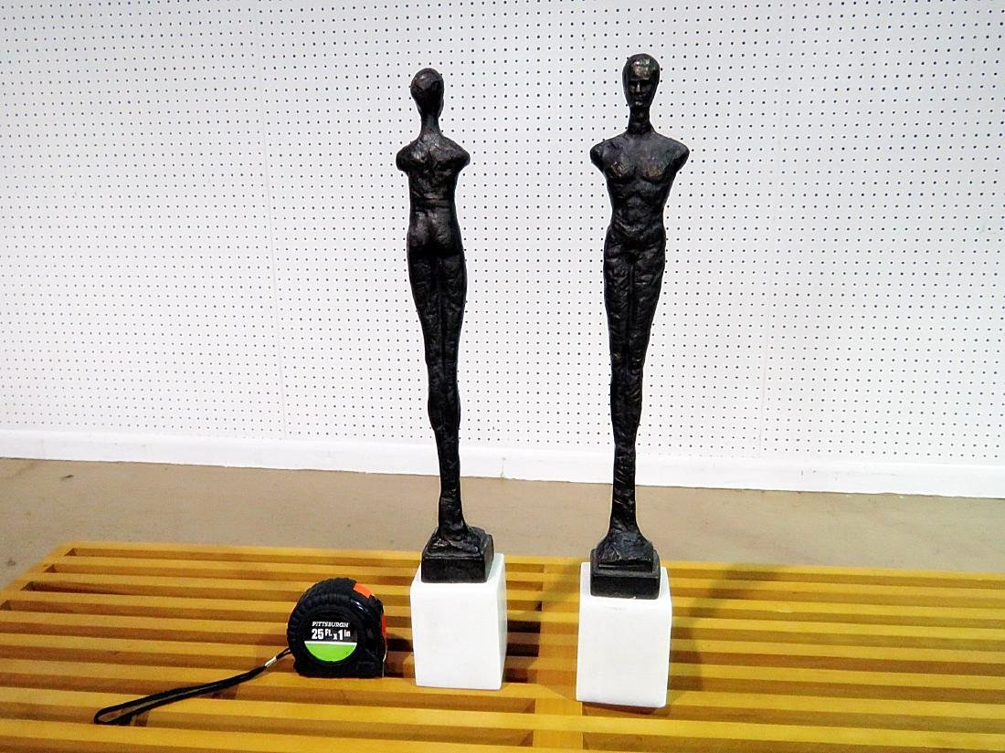 Pair GIACOMMENTI STYLE PATINATED METAL SCULPTURES - 6