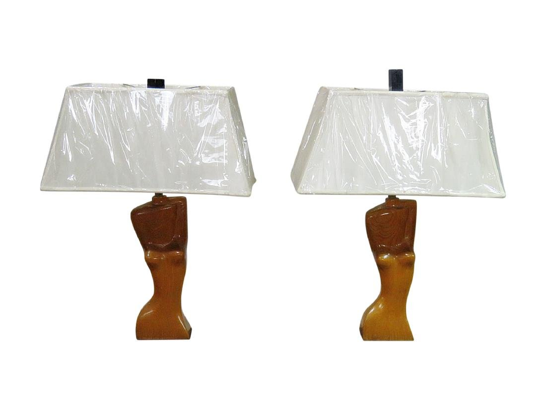 Pair FRANZ HAGENAUER CARVED WOOD FIGURAL TABLE LAMPS