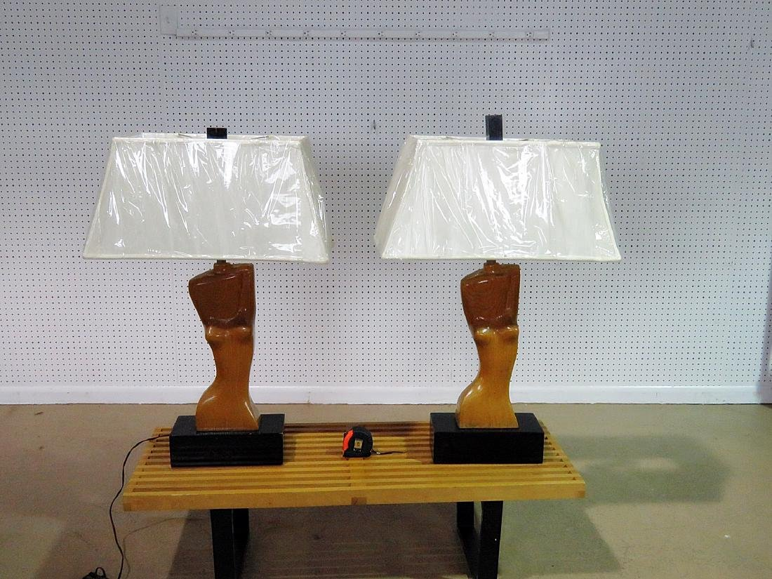 Pair FRANZ HAGENAUER CARVED WOOD FIGURAL TABLE LAMPS - 2