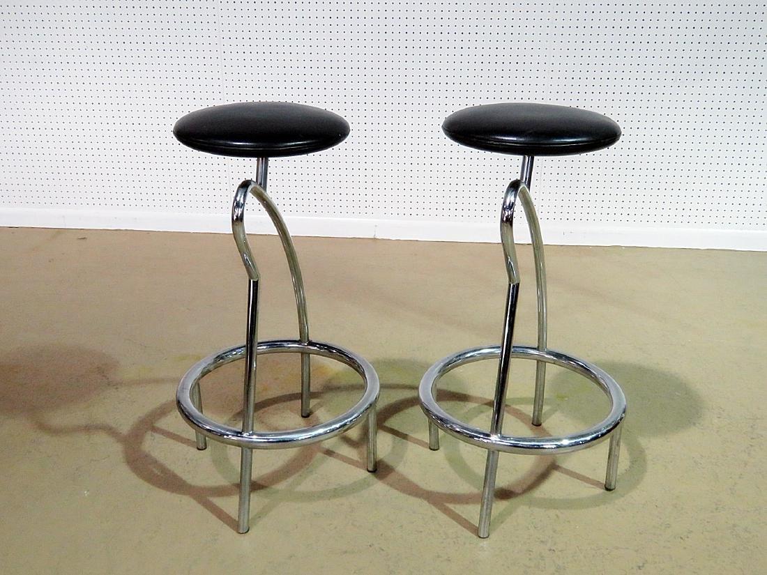 Pair ITALIAN CHROME STOOLS - 2
