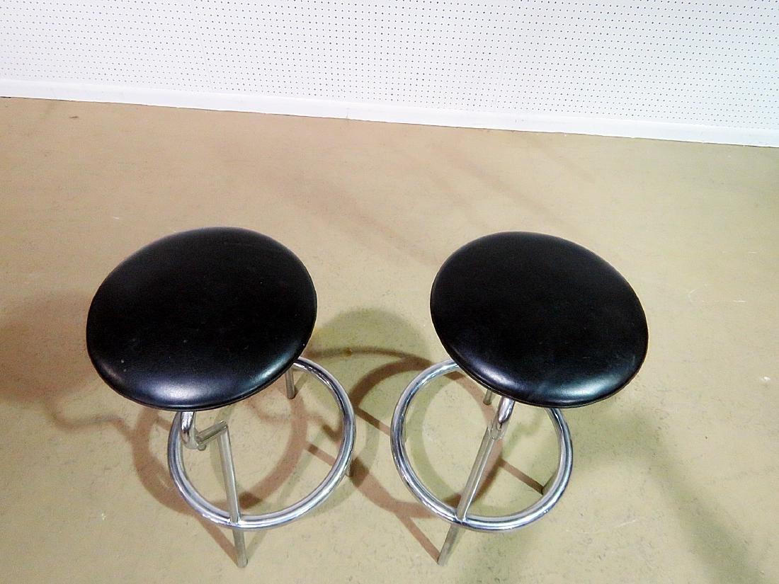 Pair ITALIAN CHROME STOOLS - 3