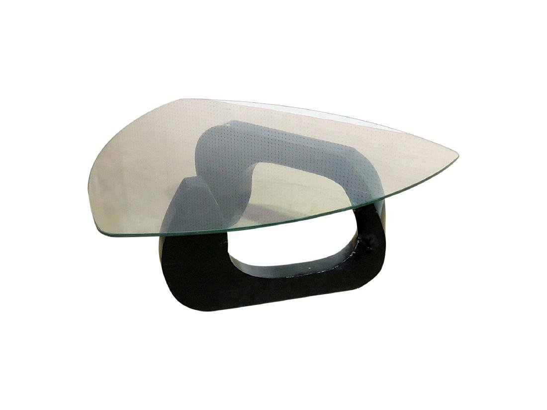 MID CENTURY MODERN FREE FORM GLASSTOP COFFEE TABLE