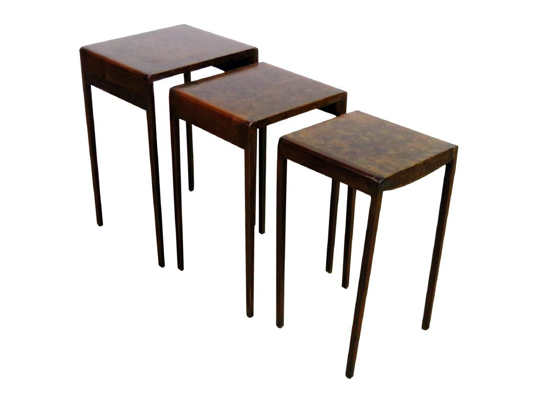 ART DECO STYLE BURL WALNUT NESTING TABLES