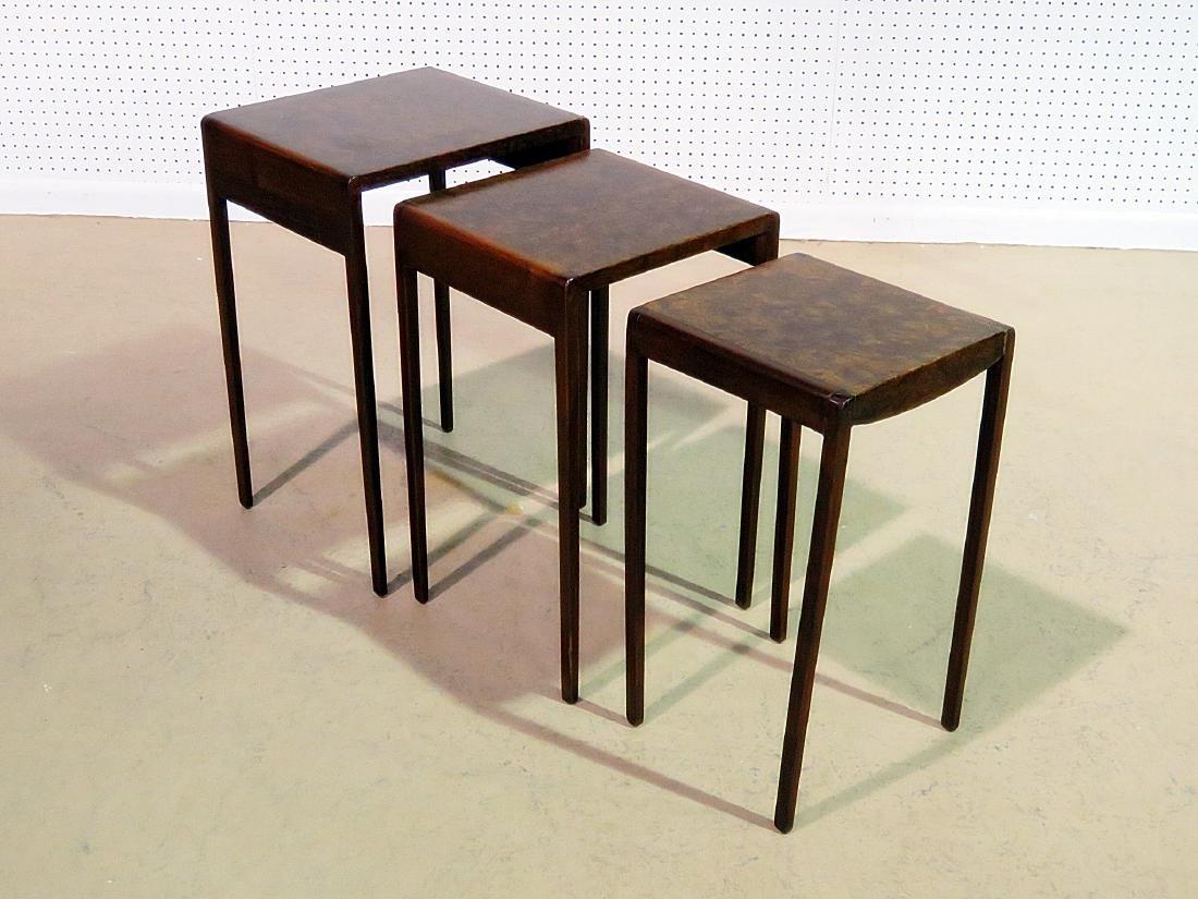 ART DECO STYLE BURL WALNUT NESTING TABLES - 2