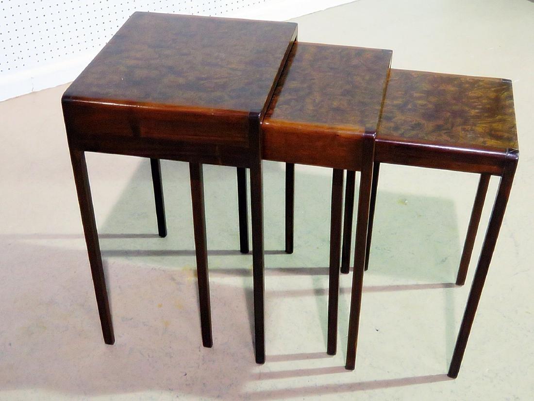 ART DECO STYLE BURL WALNUT NESTING TABLES - 3