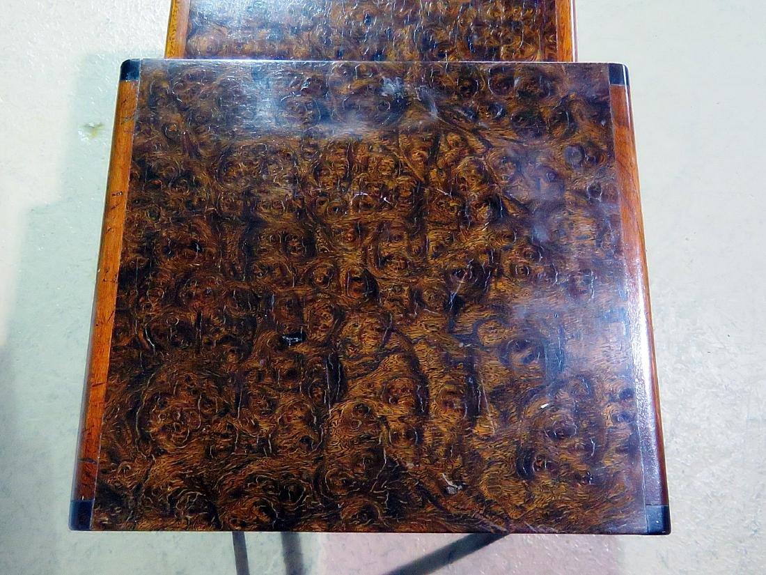 ART DECO STYLE BURL WALNUT NESTING TABLES - 4