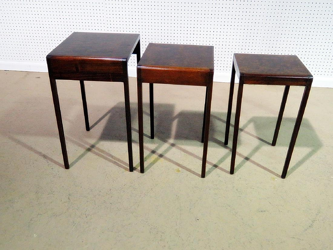 ART DECO STYLE BURL WALNUT NESTING TABLES - 6
