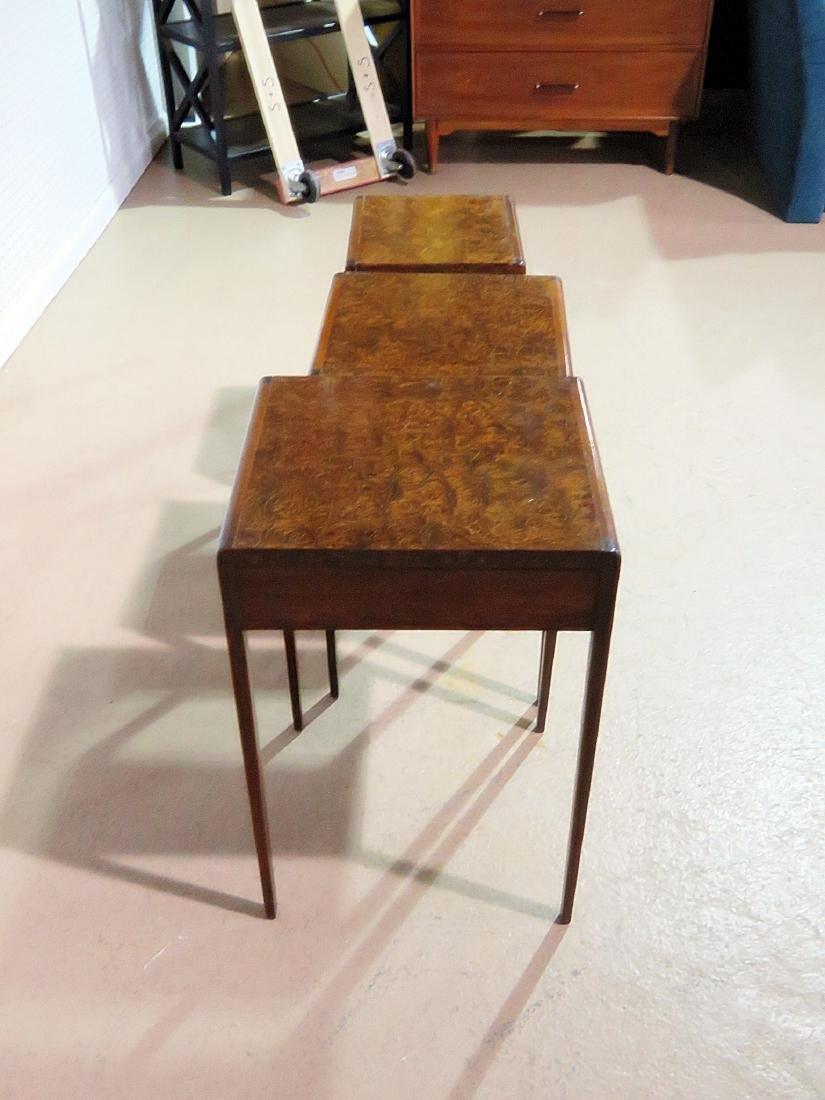 ART DECO STYLE BURL WALNUT NESTING TABLES - 7