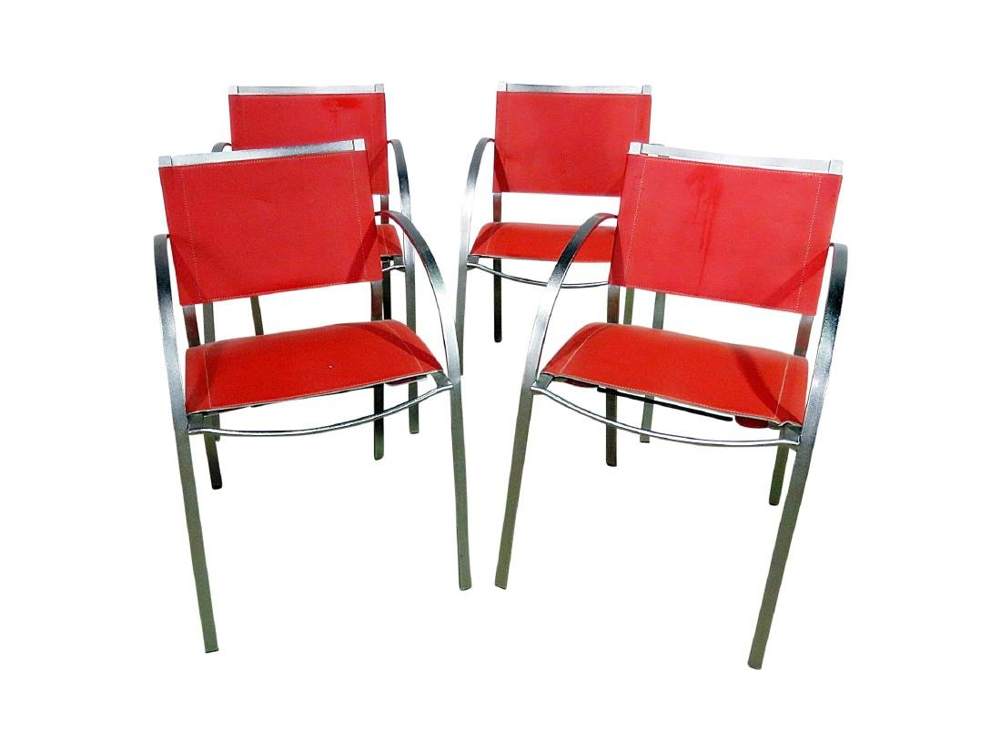 FOUR ITALIAN MCM LEATHER ARM CHAIRS