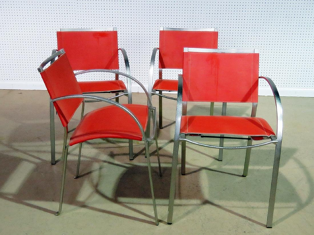 FOUR ITALIAN MCM LEATHER ARM CHAIRS - 3